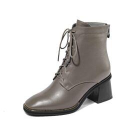 Business Schuhe Lack Stiefeletten 6 cm Mittel Heels Leder Taupe Chunky Heel