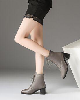 Veter Taupe Martin Boots 6 cm Heel Ronde Neus Blokhakken Enkellaarsjes