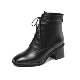 Leder Schnürens 6 cm Mittel Heels Runde Zeh Stiefeletten Chunky Heel Schwarz Business Schuhe Damen