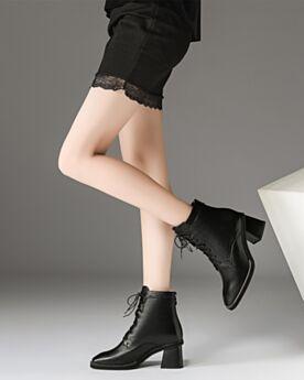 Noir Cuir Bottines Chaussures Bureau Bottes Martin Bout Rond Lacets Talons Carrés 6 cm Talon Mid Moderne