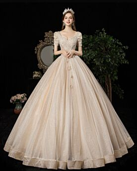 Sparkly Wedding Dresses Glitter Tulle Low Cut Beading Open Back Beautiful