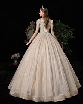 Avorio Eleganti Schiena Scoperta Principessa Scollato Con Tulle Luccicante Con Perline Glitter Vestiti Da Sposa Maniche Corte