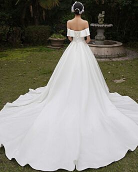 Ruffle White Princess Off The Shoulder Bridals Wedding Dress 2020 Vintage Simple Short Sleeve