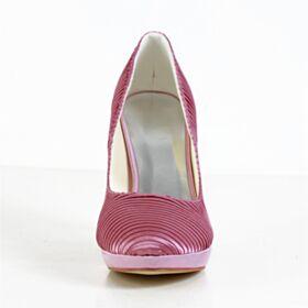 2020 Elegantes Stilettos Zapatos De Novia Plisada De Saten Rosas Tacon Alto Zapatos Tacones