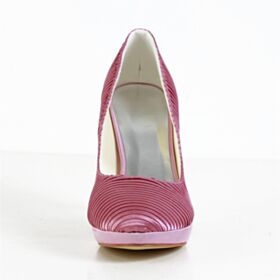 Pumps Dress Shoes Pink Stiletto Pleated Beautiful 10 cm High Heels Round Toe Satin Bridal Shoes