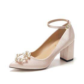 Con Perlas Color Champagne Tacon Ancho 7 cm Tacones De Satin Zapatos De Novia Elegantes Zapatos Tacon