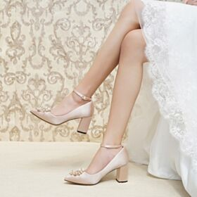 Con Tacco Medio Con Perle Tacco Largo A Punta Scarpe Sposa Eleganti Decollete