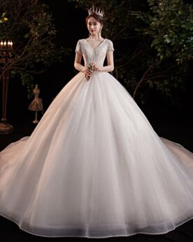 Witte Kanten Trouwjurk Luxe Glitter Elegante A Lijn Korte Mouw Applique Open Rug