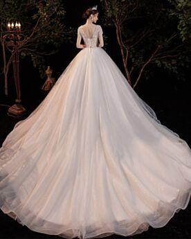Schiena Scoperta In Pizzo Tulle Bianco Glitter Maniche Corte Vestiti Da Sposa Eleganti