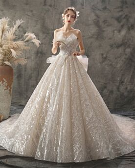 Backless Princess Bridals Wedding Dress Beautiful 3D Flower Luxury Beach Tulle Glitter Outdoor Strapless Sparkly Sweetheart