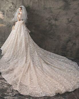 Glitzer Ärmellos Hochzeitskleider Luxus Pailletten Rückenfreies A Linie Champagner Strand Glitzernden Schleife
