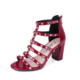 Leder High Heel Sexy Burgunderrot Römers Blockabsatz Lack Mit Absatz 8 cm Ballschuhe Riemchen Mit Nieten Sandaletten Damen