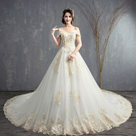 White A Line Long Backless Beautiful Wedding Dresses Appliques Lace Off The Shoulder