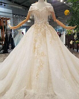 Color Crema Bordado Flecos Brillantes Purpurina Encaje Elegantes Vestidos De Novia