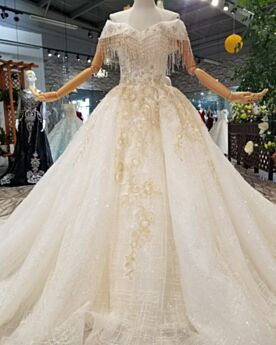 Wedding Dress Open Back Charming Sparkly Glitter Ivory Lace Fringe A Line