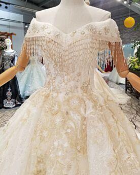 Élégant 2019 Perlage Dos Nu Longue Princesse Robe De Mariage Brillante Dentelle Glitter