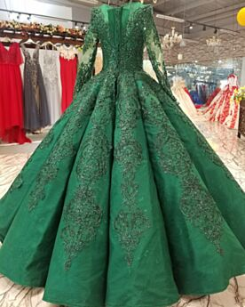 Dark Green Winter Fall Long Sleeve Quinceanera Dress Lace Long Prom Dress Flounce Elegant