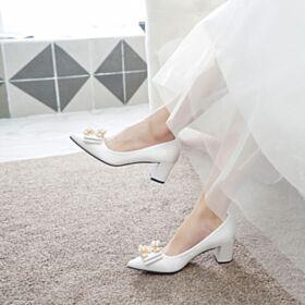 2019 Blanche Chaussure Mariée Élégant Petit Talon Talon Carrés Escarpins Avec Perle