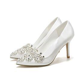 Talons Hauts Blanche Avec Strass Escarpins Chaussure Demoiselle D honneur Satin Talon Aiguille Cristal Élégant Chaussure Mariage