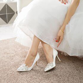 Mit Kristall Weiß Brautschuhe Stilettos Elegante Pumps Spitz Zeh Brautjungfer Schuhe