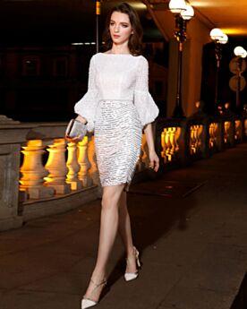 Vestidos De Coctel Para Fiesta De Lentejuelas Elegantes Cortos Con Mangas Acampanadas Vestidos Semi Formales Blancos Brillantes
