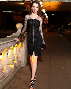 Black Long Sleeves Short Tulle Sequin Sparkly Semi Formal Dress Sheath Cocktail Dresses