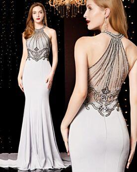 Formal Evening Dresses Halter Elegant Silver Mermaid Long