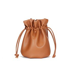Fashion Bucket Bag Shoulder Bag Small String Cute Purse Crossbody Brown Casual Full Grain Leather