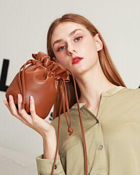 Fashion Bucket Bag Shoulder Bag Small String Cute Purse Crossbody Brown Casual Full Grain Leather