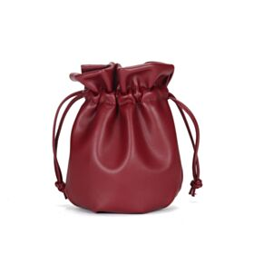 Burgundy Crossbody Small Fashion Shoulder Bag Beautiful Bucket Bag Drawstring Bag