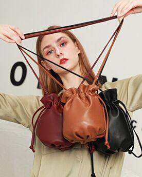 Vino Moda Piel Crossbody Bag Pequeño Bolso Cubo Correa Bandolera