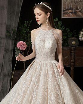 Con Strascico Luccicante 2020 Avorio Glitter Con Frange Bellissimi Vestiti Da Sposa