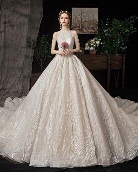 Franjes Sparkle Bruidsjurken Ronde Hals Glitter Ivory Lange 2020 Mouwloze