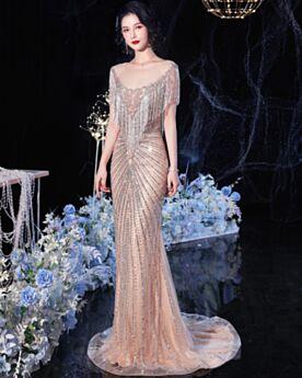 Met Kristal Zeemeermin Champagne Kralen Open Rug Doorschijnende Sparkle 2020 Elegante Verlovingsjurk Met Staart Lange Met Franjes Avondjurken Luxe Pailletten