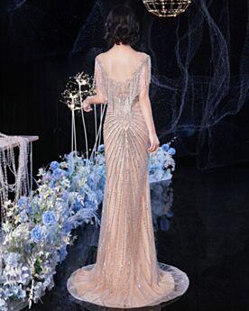 Elegante Mit Fransen Luxus Kristall Pailletten Rundhalsausschnitt Transparentes Glitzernden Galakleid Abendkleid Perlen Rückenausschnitt