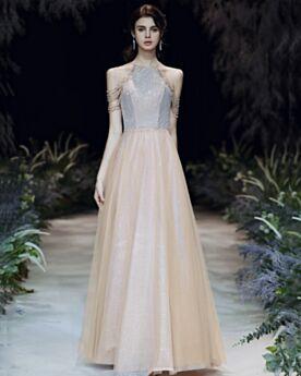 Abiti Da Sera Glitter Con Frange Chic Schiena Scoperta Con Tulle Paillettes Scollo Americana Abiti Cerimonia Vestiti Prom
