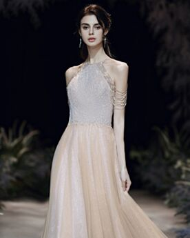 Lange Perlen Abendkleid Glitzer Tüll Rückenausschnitt Pailletten Glitzernden Neckholder Ballkleider