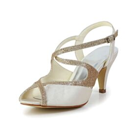 Sandalias Color Champagne Stiletto Tacon Medio De Tiras Peep Toe