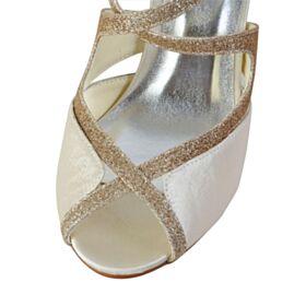 Eleganti Sandali Scarpe Sposa Tacchi A Spillo Con Lacci Glitter Champagne Tacco Medio In Raso Spuntate