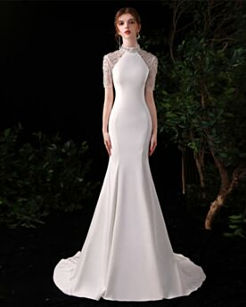 Elegant Gorgeous Turtleneck Formal Evening Dresses Long Satin White