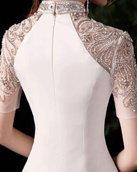 Longue Satin Luxe Sirène Élégant Demi Manche Robe De Soirée Col Haut Perlage