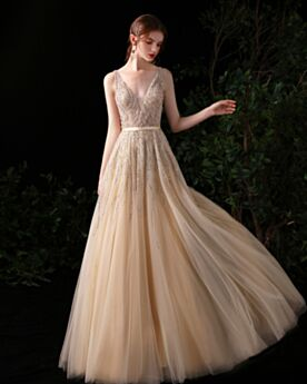 Princess Beading Formal Dresses Empire Sweet 16 Dress Champagne Prom Dresses Tulle Sequin Luxury
