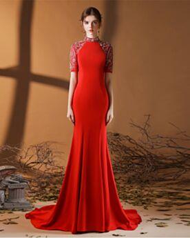 Rode Elegante Korte Mouwen Kralen Avondjurken Met Staart Hoge Kraag Zeemeermin Lange Satijnen Simpele