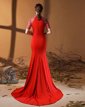 同窓会 ドレス ロング ハイネック 赤い エレガント サテン イブニングドレス マーメイド シンプル な 4521310352-1