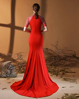 Long Homecoming Dress Formal Evening Dresses High Neck Red Mermaid