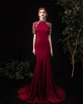 Kundengerecht Verlobungskleid Hochgeschlossene Meerjungfrau Abendkleider Kurzarm Elegante Burgunderrot