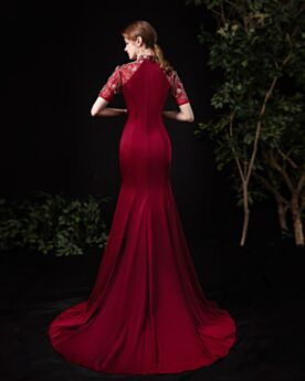 Formal Dresses Long Burgundy Turtleneck With Train Mermaid Elegant Short Sleeve Beading