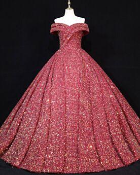 Epaule Dénudée Dos Nu Paillette Robe Quinceanera Robe Habillée Longue Brillante Sans Manches Luxe Robe De Bal