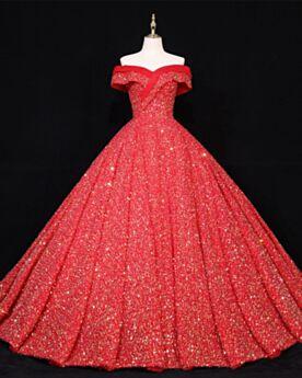 Vestidos De 15 Años Vestidos De Noche Largos De Lujo Hombros Caidos Lentejuelas Vestidos De Prom Rojos Princesa Brillantes