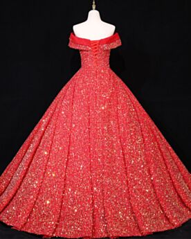 Sweet 16 Dress Formal Evening Dresses Sparkly Sequin Quinceanera Dresses Ball Gowns Prom Dress Red Off The Shoulder Gorgeous Backless